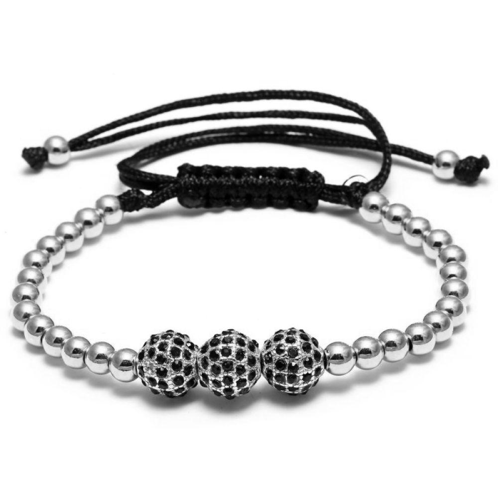silber perlen armreif shamballa 3 zirkonia kugel polyester damen herren armband ebay. Black Bedroom Furniture Sets. Home Design Ideas