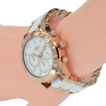 Lacoste Damen Uhr Chronograph 2000911 Charlotte BiColor Rose Weiß Armband