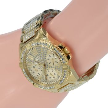 Guess Damenuhr W1156L2 Lady Frontier Zirkonia Gold Farbe Armbanduhr
