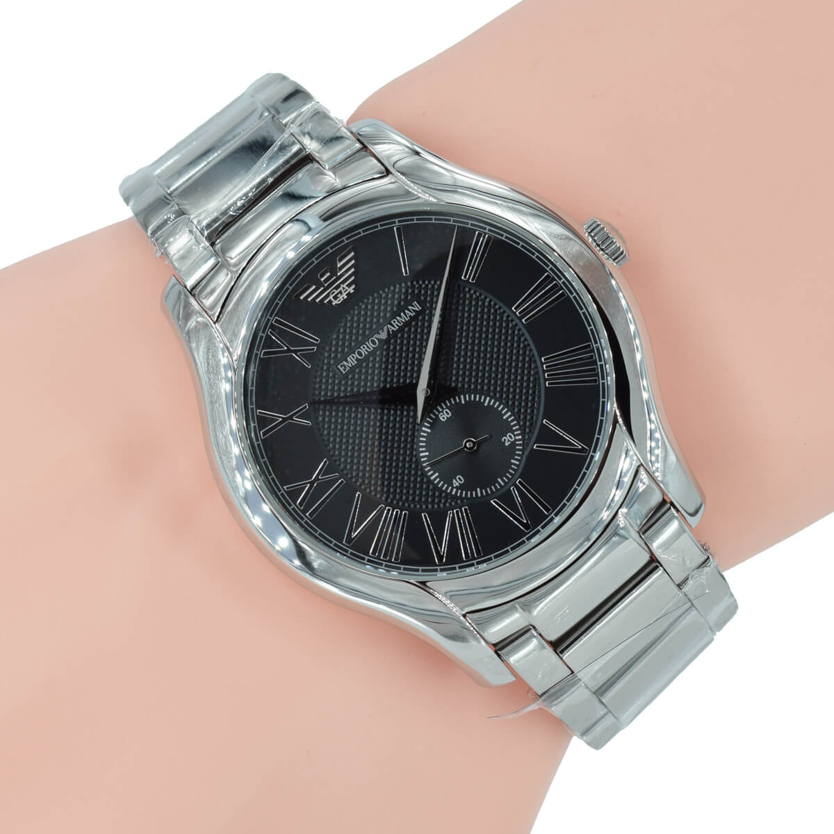 great fit united kingdom size 40 Emporio Armani Herren Uhr massiv AR11086 Schwarz Silber Edelstahl Armband