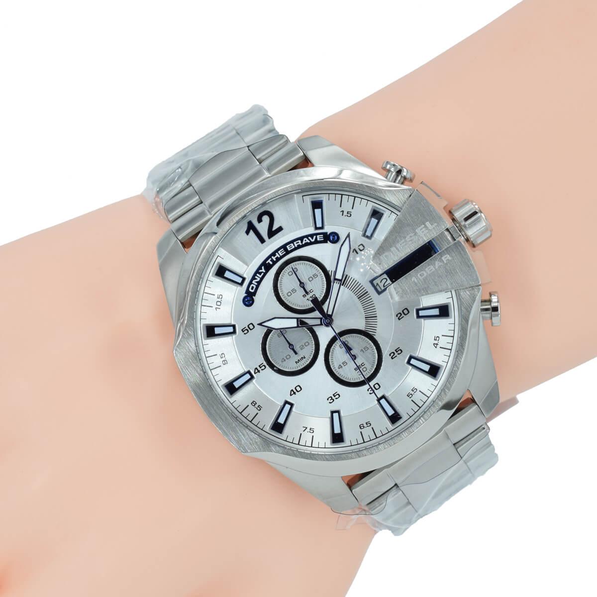 diesel herren uhr chronograph dz4477 mega chief silber edelstahl armbanduhr. Black Bedroom Furniture Sets. Home Design Ideas
