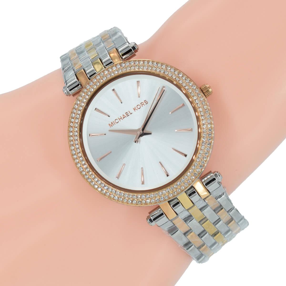 Rose Damen Uhr Michael Darci Tri Color Kors Mk3203 Gold Edelstahl Silber QBxroedECW