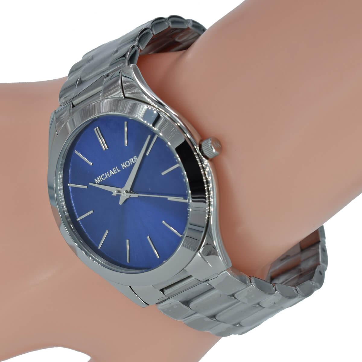 Armband Blau Edelstahl Kors Silber Michael Uhr Runway Damen Mk3379 Slim POXukZi