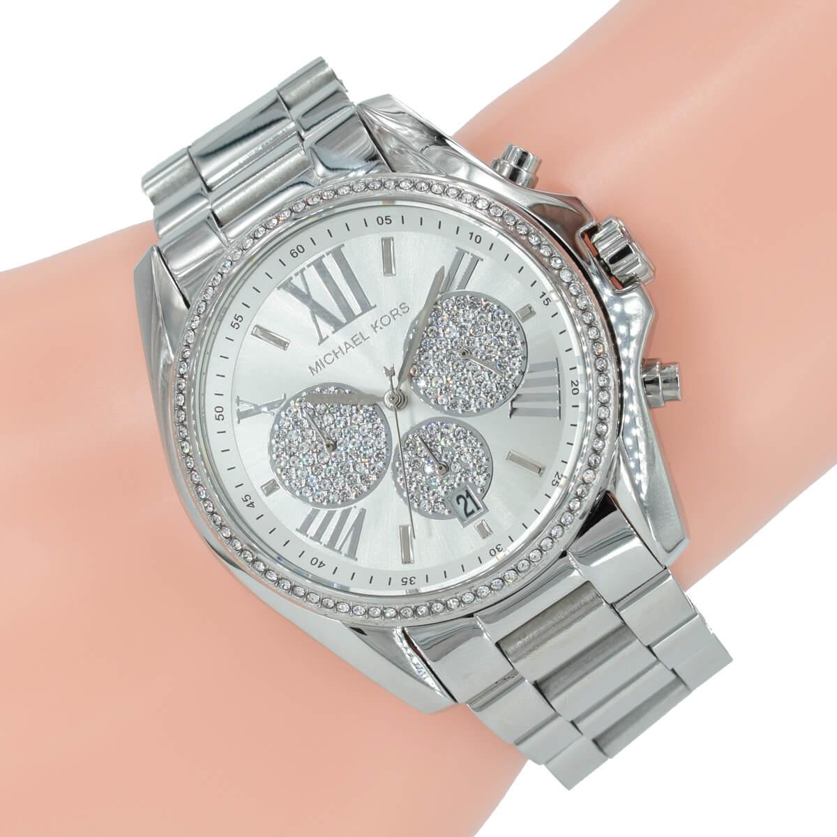 Michael Kors Damen Uhr Chronograph MK6537 Bradshaw Silber