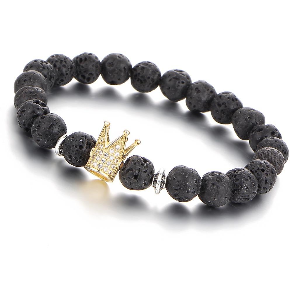 gold zirkonia krone vulkan lava edelstein perlen schwarz armreif damen herren armband uhren. Black Bedroom Furniture Sets. Home Design Ideas