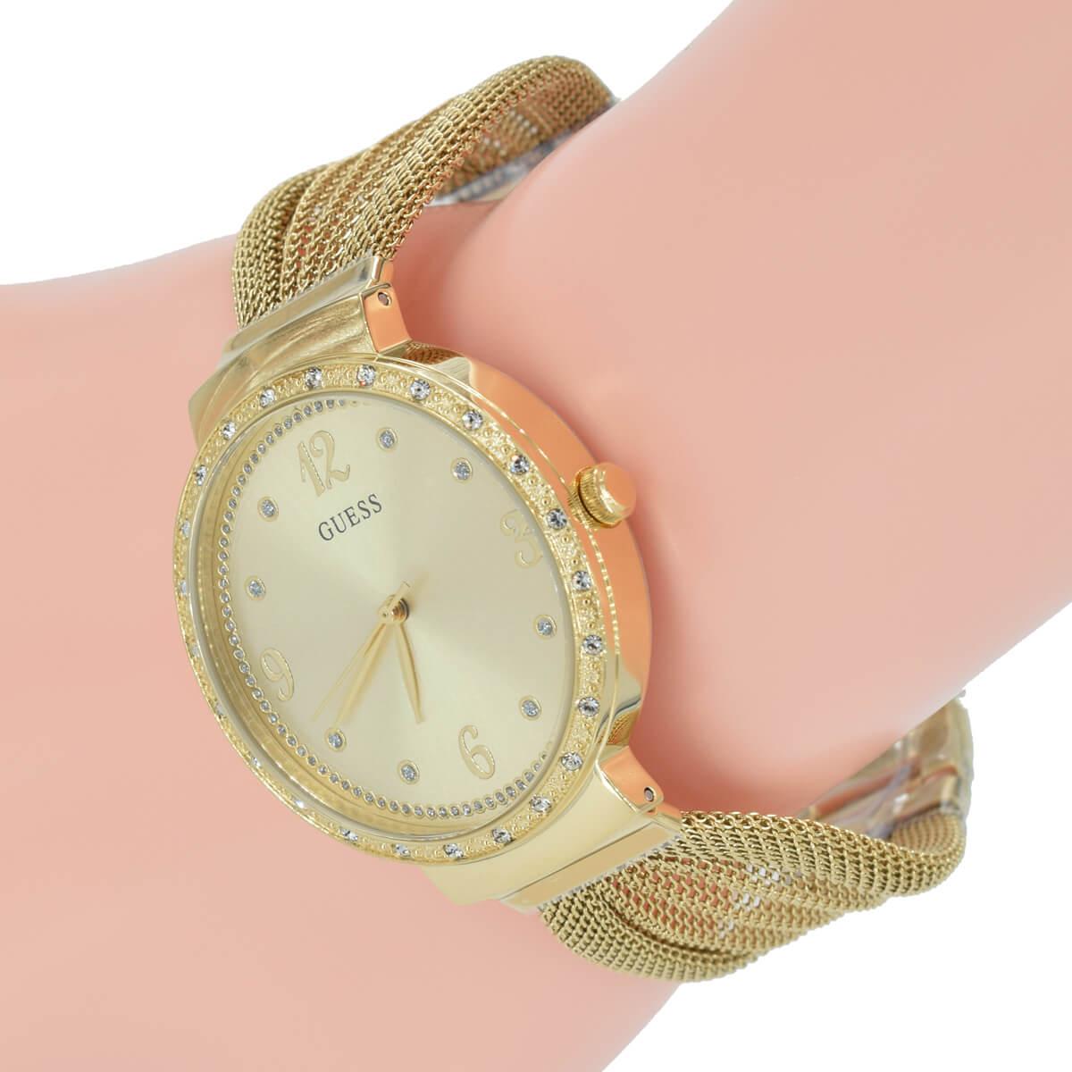 Chiffon Guess Farbe W1083l2 Milanaise Uhr Mesh Armband Gold Damen n0wkON8ZXP