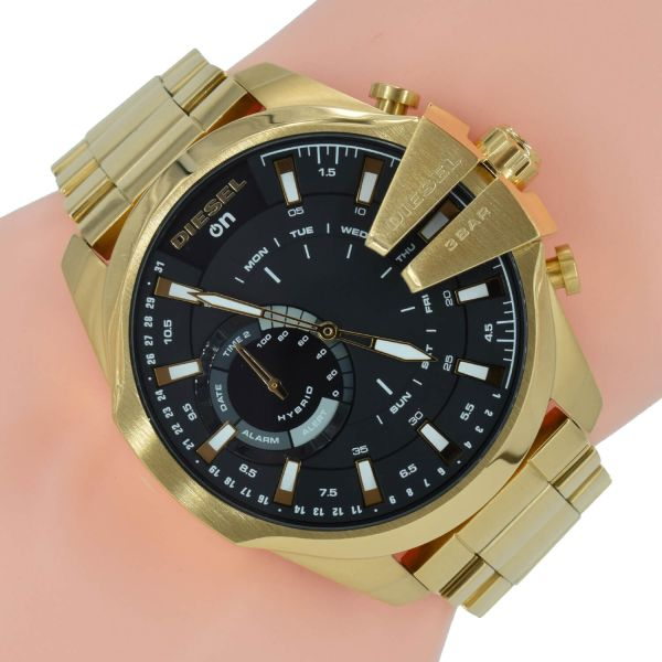 Diesel ON Herrenuhr Hybrid Smartwatch Mega Chief DZT1013 Gold Edelstahl