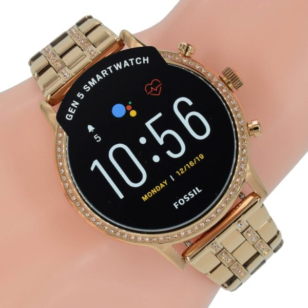 Fossil Q Damen Uhr Gen 5 Smartwatch Julianna HR FTW6035 Rose Zirkonia