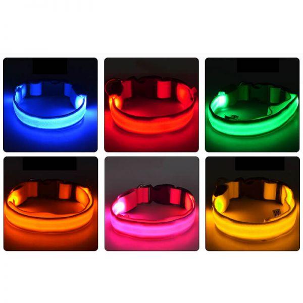 Perros collar LED verde tamaño xl 52-60 cm leuchtband warn señal aros reflectantes