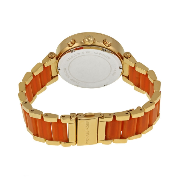 Michael Kors MK6139 Gold Edelstahl Orange Damenuhr Armbanduhr